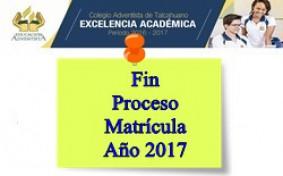 Fin Matrícula Año 2017