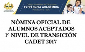 Nomina aceptados a 1er. N.T. de 2017