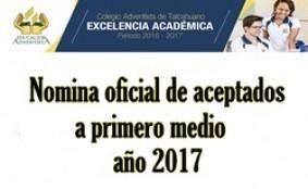 NOMINA PRIMEROS MEDIOS 2017